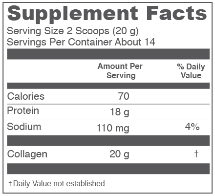 Vital Proteins Collagen Peptides Supplement Facts Nutrition Label and Ingredients
