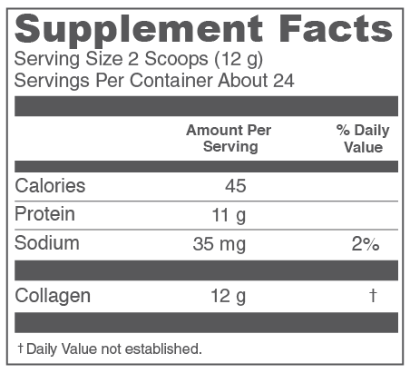 Vital Proteins Marine Collagen Peptides Supplement Facts