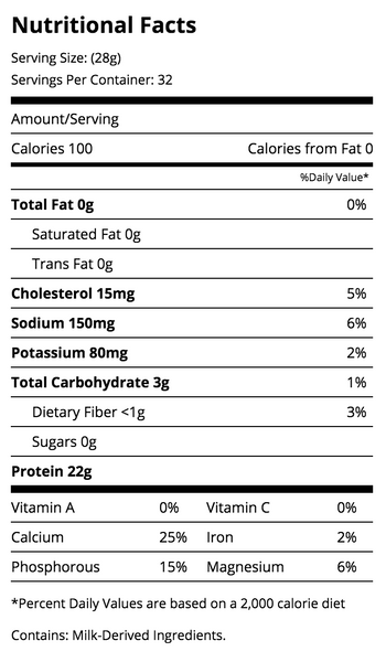 Quest Nutrition Vanilla Protein Nutrition Facts Label