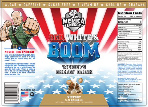 Nutrition Label Merica Labz Energy Drinks Victory