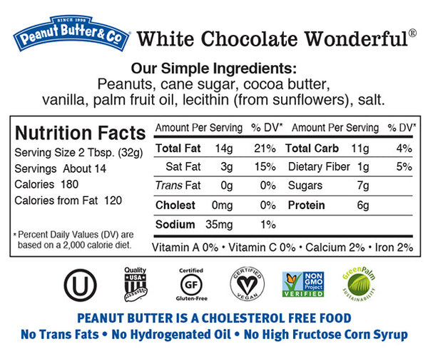white Chocolate Wonderful Nutrition Facts Label Ingredients