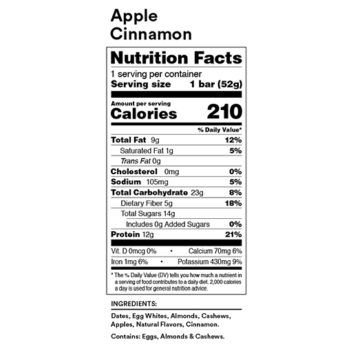 RX Bar Apple Cinnamon Nutrition Facts Label