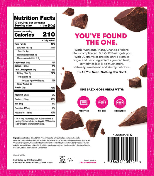 One Basix Triple Chocolate Chunk Nutrition Facts Label