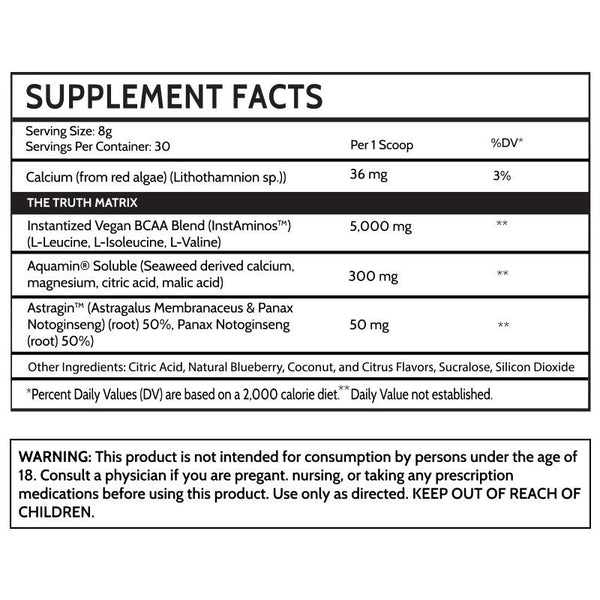 Inspired BCAA Supplement Facts Label