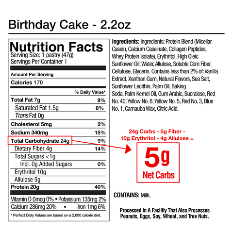 Legendary Foods Tasty Pastry Cake Style Birthday Protein Pop Tart Nutrition Label Facts
