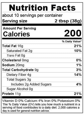 Buff Bake Birthday Cake Protein Almond Spread Nutrition Facts Label