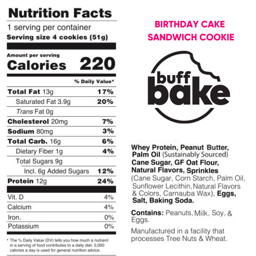 buff bake birthday cake cookies nutrition facts
