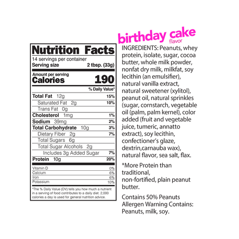nuts n more birthday cake high protein peanut butter spread Nutrition Label Facts