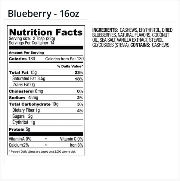 legendary foods blueberry nutrition facts label