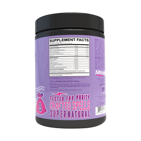 Black Magic Bzrk Preworkout Berry'd Money Limited Edition Pre Workout Supplement Nutrition Label Facts