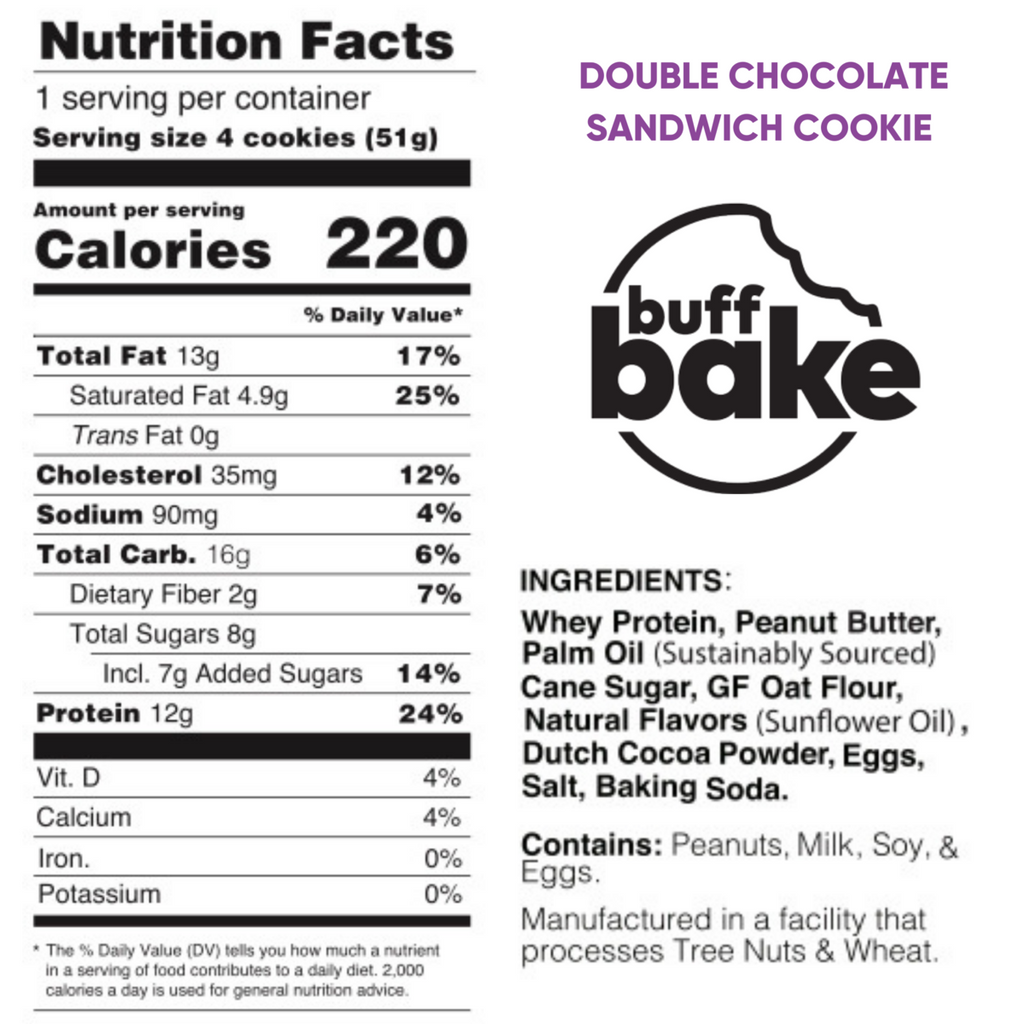 double chocolate buff bake cookies nutrition facts label