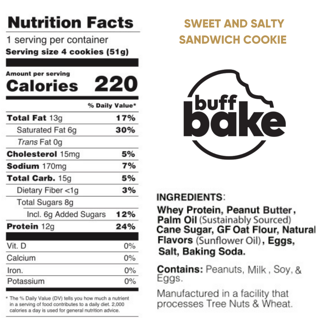 sweet & salty sandwich cookies nutrition facts info label