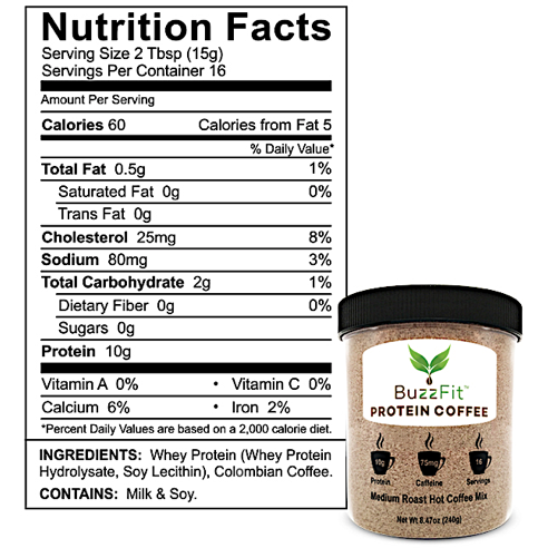 Buzzfit Protein Instant Coffee Nutrition Facts label
