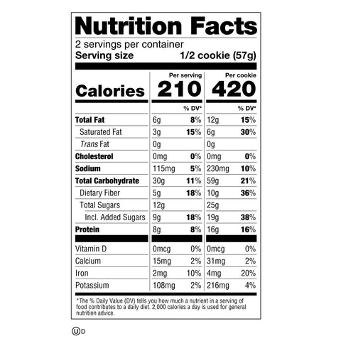 lenny and larry chocolate chip cookie nutrition facts label