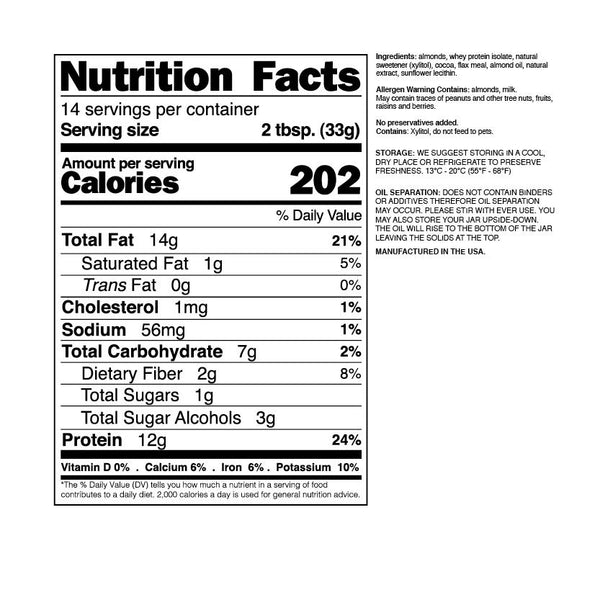nuts n more chocolate almond butter nutrition facts label