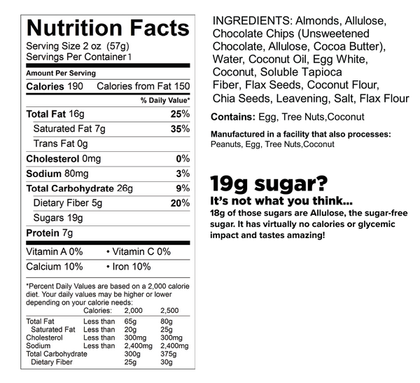 know better chocolate chip cookies nutrition facts label