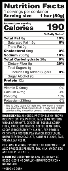 no cow energy bar chocolate sea salt nutrition facts label