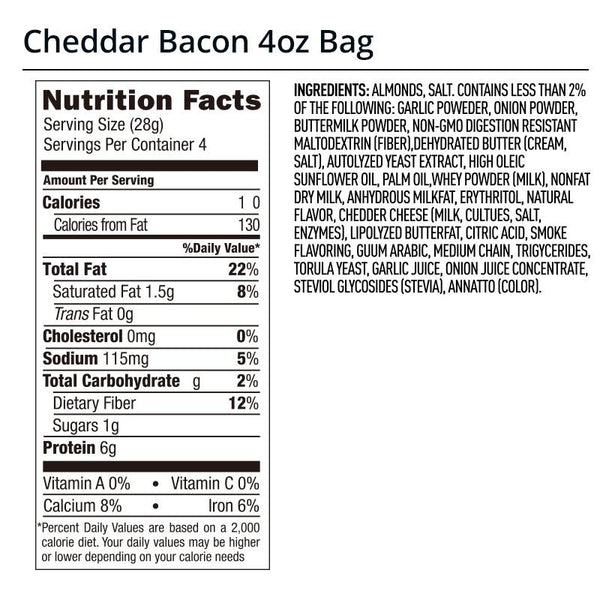 Legendary Foods Cheddar Bacon Almonds Nutrition Facts Label