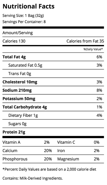 Quest Chips Cheddar and sour cream nutrition facts label