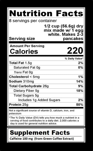stack'd protein pancakes cinna buzz'd nutrition facts label