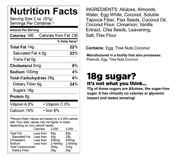 know better protein cookie cinnamon nutrition facts label
