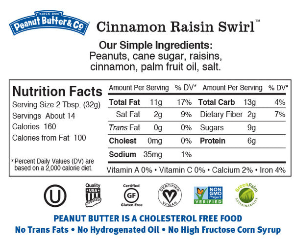 Peanut Butter & Co Cinnamon Raisin Nutrition Facts Label