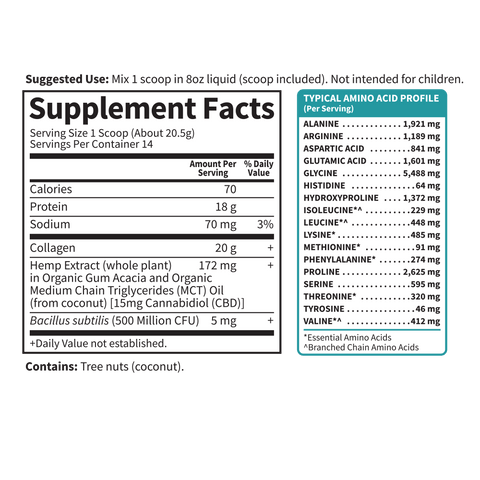 Garden Of Life Collagen Peptides CBD 15mg Supplement Nutrition Label Facts