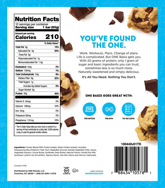 One Bar Basix Cookie Dough nutrition facts label