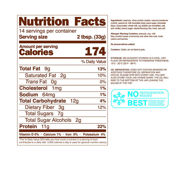 nuts n'more cookie dough spread nutrition facts label