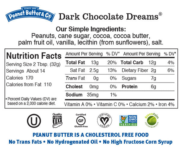 Peanut Butter & Co Dark chocolate Dreams Nutrition Facts Label