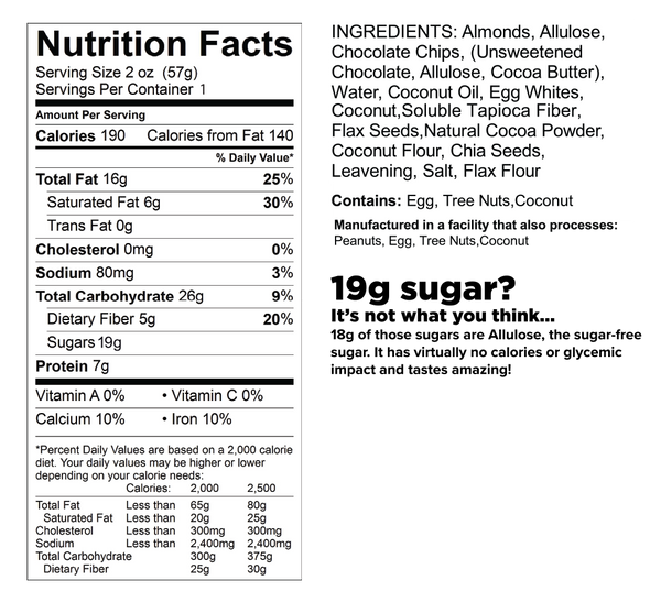 know better cookie double chocolate chip nutrition facts label