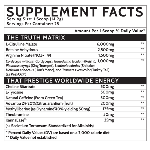 Inspired Nutraceuticals DVST8 Preworkout world wide supplement nutrition label facts