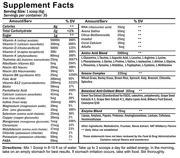 NutraKey Envie Multi-vitamin powder supplement facts label