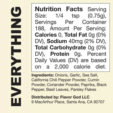 Flavor God Everything Seasoning Nutrition Facts Label