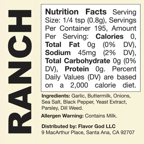 Flavor God Ranch Seasoning Nutrition Facts Label