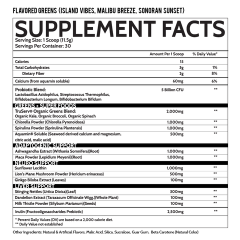 Inspired Nutraceuticals Greens Sonoran Sunset Malibu Breeze Island Vibes Powder Supplement Nutrition Label Facts