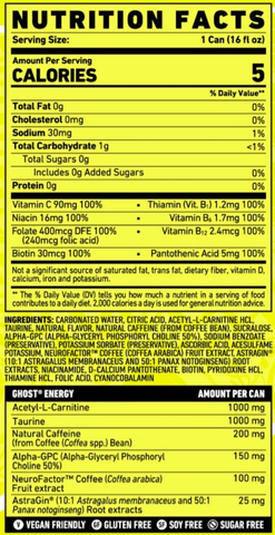 Ghost RTD Energy Drink Can New Supplement Nutrition Facts Label