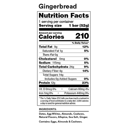 rx bar gingerbread nutrition facts label