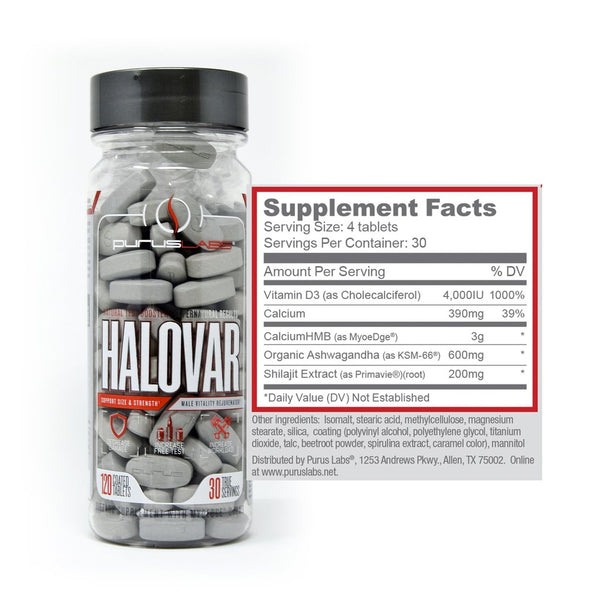 purus labs halovar supplement facts label