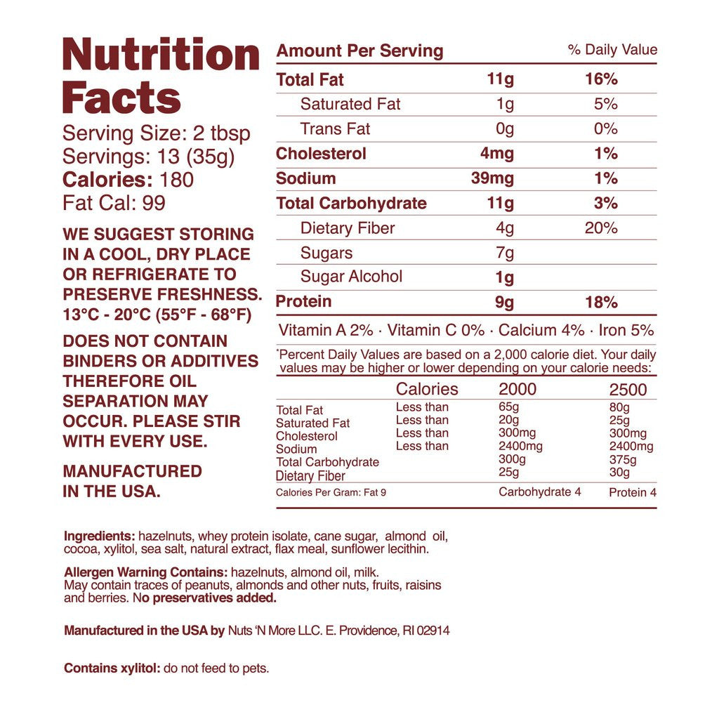 nuts 'n more hazelnut spread nutrition facts label