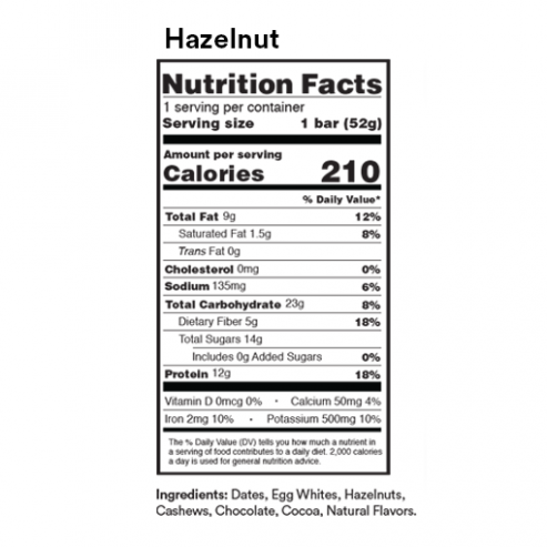 rx bar chocolate hazelnut nutrition facts label