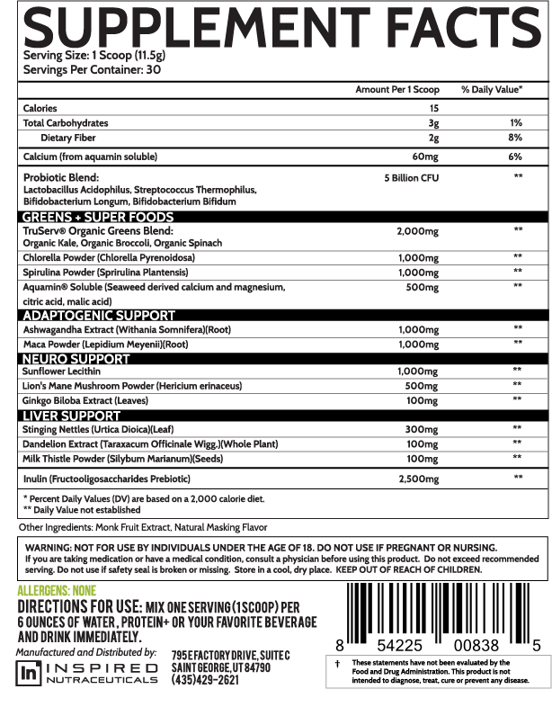 inspired nutra greens powder nutrition facts label info