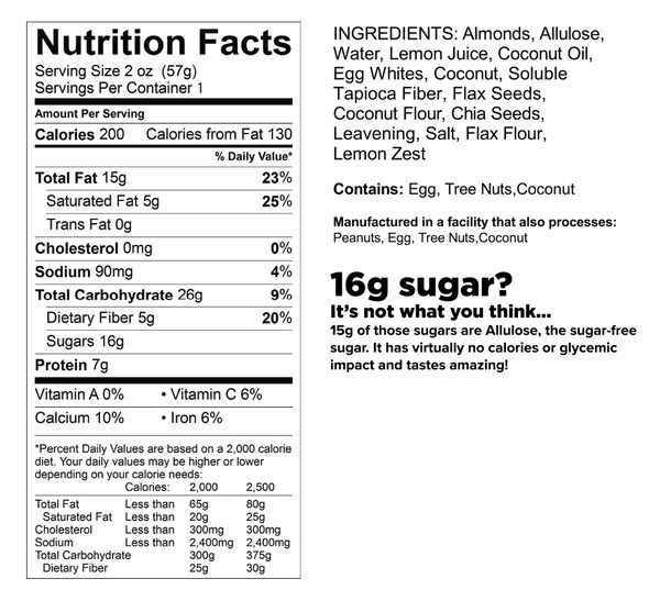 know better lemon protein cookie nutrition facts label