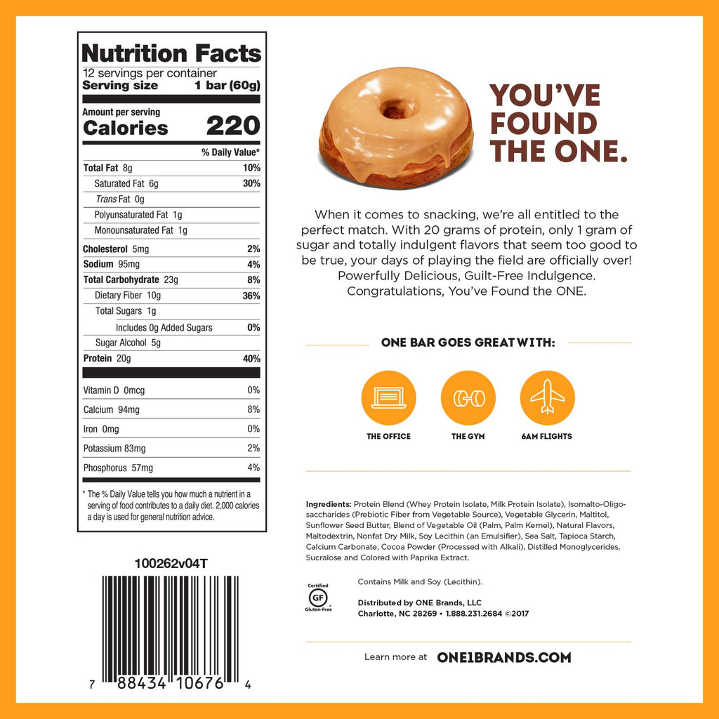 one bar maple glazed doughnut nutrition facts info label