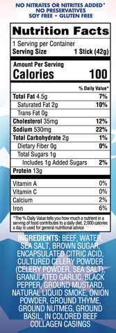 Merica Labz Snax Beef Stick Jerky Nutrition Label Facts