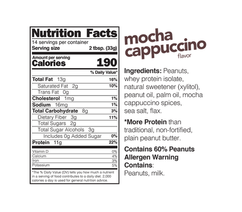 nuts n more high protein peanut spread mocha cappuccino jar nutrition label facts