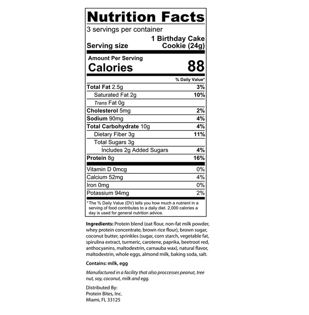 my protein bites birthday cake nutrition facts label