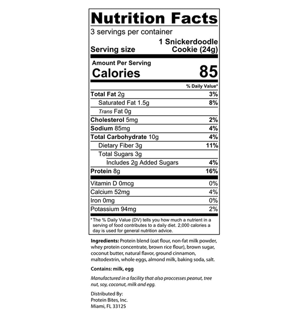 my protein bites chocolate chip cookies nutrition facts label