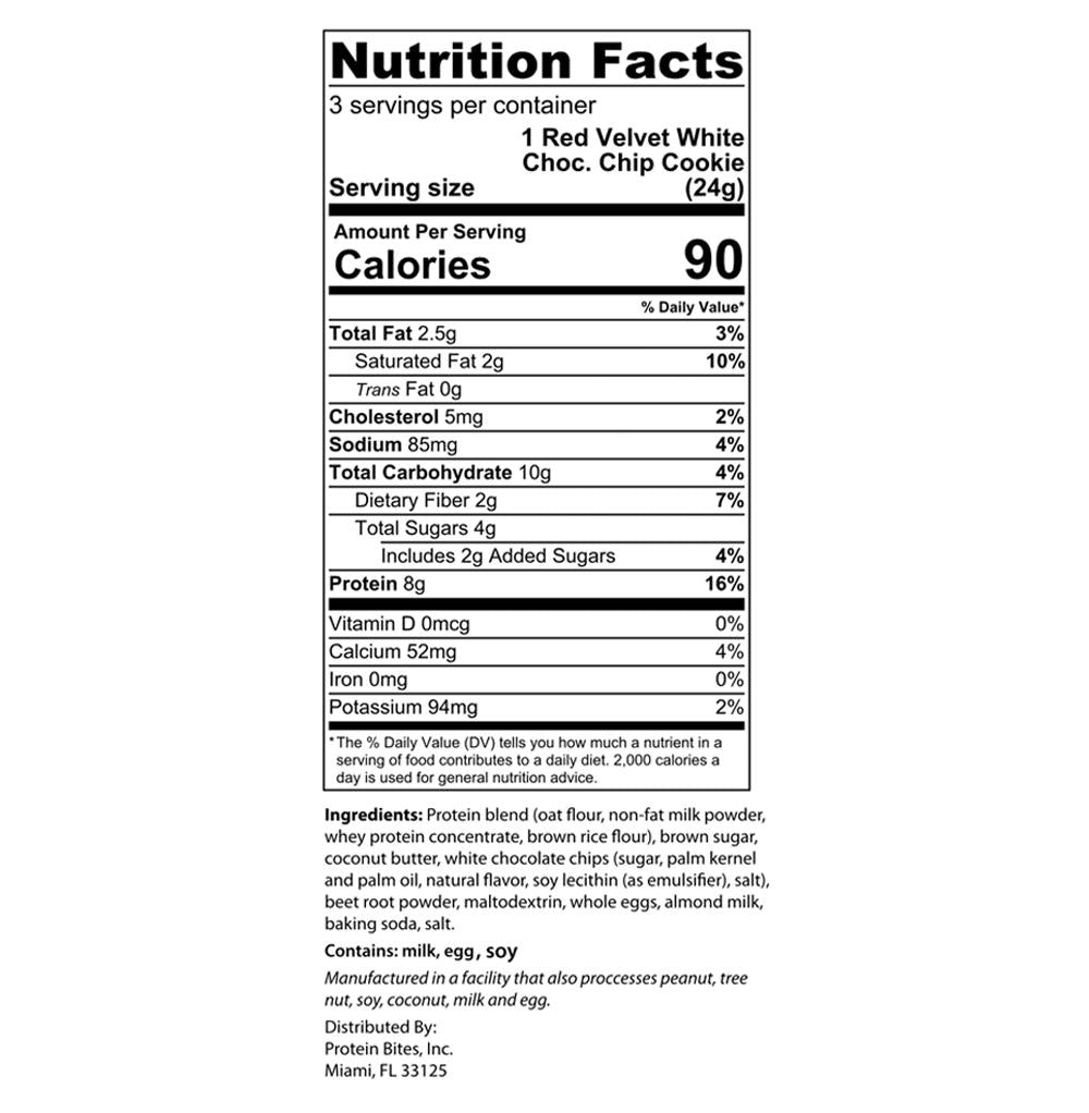 my protein bites red velvet protein cookie bites nutrition facts label