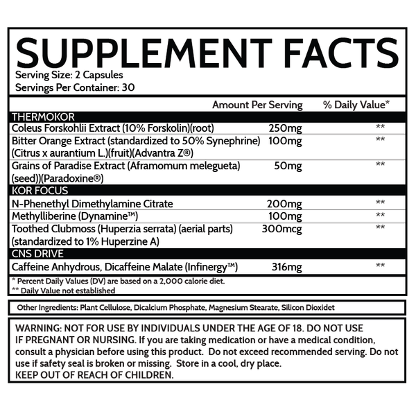 inspired nutra KOR fat burner supplement facts label
